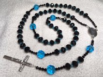 Rosary Black Czech Faceted Beads Turquoise Accents St. Michael Middle Medal Italian Silver Cruci... in Kingwood, Texas