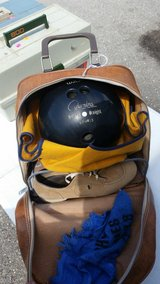 Bowling ball with carrying bag and shoes in Fort Leonard Wood, Missouri
