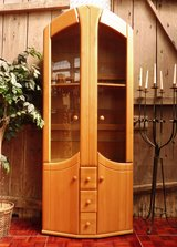 Nice Light Birchwood Bookcase or China Cabinet with Lights in Ramstein, Germany