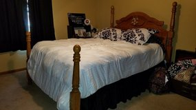 Queen size bedroom set excluding boxspring and mattress in good condition.  Inc... in Byron, Georgia