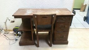 Old wood desk and chair in Ramstein, Germany