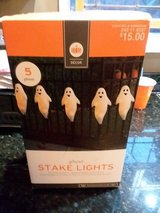 Halloween decoration ghost stakes in Algonquin, Illinois
