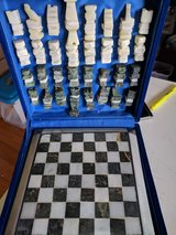Hand-carved Alabaster Chess Set Bought in Egypt in Okinawa, Japan