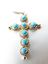 Sterling Silver & Turquoise Navajo Cross Pendant in Alvin, Texas