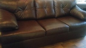 Brown leather couch in Ramstein, Germany