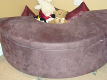 STORAGE BENCH/SETTEE, ULTRA SUEDE HALF-MOON SHAPED in Lockport, Illinois