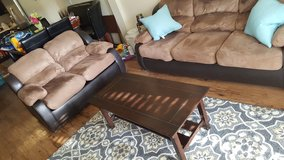 Complete living room set: couch, loveseat, table, pillows, and rug. MUST GO! Moving sale. in Jacksonville, Florida