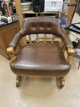Vintage Wooden Banker/Library/Juror vinyl padded arm chair on wheels in Naperville, Illinois