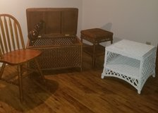 Wicker Chest, Table, End Table, Wooden Vase, Single Wooden Chair in Fort Polk, Louisiana