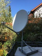 AFN satellite dish, stand, receiver, and remote in Wiesbaden, GE