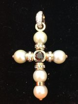 Cross Pendant with Black Diamond and Brilliants 750 White Gold and Yellow Gold with Black Diamonds in Ramstein, Germany