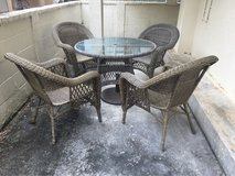 Wicker Style Outdoor Table and 4 Chairs, Glass Table Top in Okinawa, Japan
