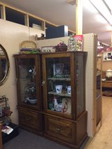 Cabinet with glass shelves. (2 available) in Fort Leonard Wood, Missouri