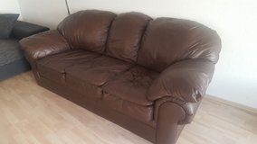 Brown leather couch in Stuttgart, GE