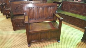 Carved Oak Monks Bench Others Available Free Delivery in Lakenheath, UK
