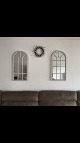 2 large Antique White Cathedral round Top mirrored window frames in Ramstein, Germany