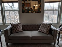 Dove Grey Couch and Cushions in Oswego, Illinois
