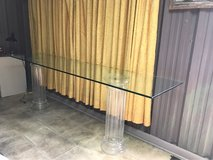 8' long glass table with 2 glass columns in Biloxi, Mississippi