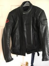 Frank Thomas Defender leather motorcycle jacket in Lakenheath, UK