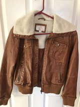 Faux Leather and shearling bomber jacket in Palatine, Illinois