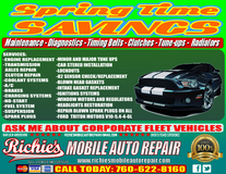 **Richie's Mobile Auto Repair Fully Licensed & Certified in Oceanside, California