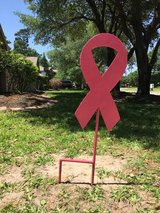 Breast cancer metal yard sign in Houston, Texas