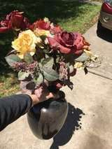 Faux flowers in ceramic vase and art to match BUNDLE in Kingwood, Texas