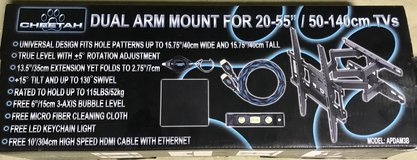 Articulated Flat Screen TV wall mount with HDMI cable, brand new never used/opened in Okinawa, Japan
