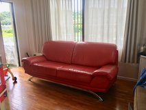 Authentic Leather Couch - Red in Okinawa, Japan
