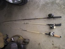 3 fishing poles and reels in Fort Knox, Kentucky