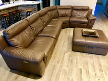 Beautiful Power Reclining Leather Sectional and Ottoman in The Woodlands, Texas