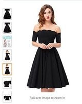 Womens Off Shoulder Swing Dress Party Picnic Dress (Black, XL) in Alamogordo, New Mexico