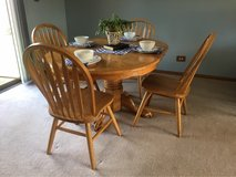Solid Oak Dining table and 4 chairs in Bartlett, Illinois