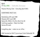 moving sale in Fort Campbell, Kentucky