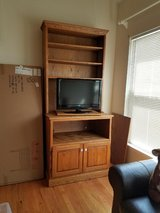 Full size solid oak hutch with tv stand in Naperville, Illinois