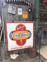 Vintage 1976' BELKNAP Blue Grass Metal Dealer Sign in Baytown, Texas