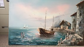 Canvas Painting of boat in the bay in Fort Bragg, North Carolina