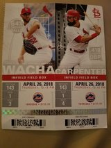 2 St. Louis Cardinals vs NY Mets Infield Field Box Tickets, Thursday, 26 April 2018 at 12:15 PM in Fort Leonard Wood, Missouri