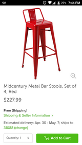 Set of Red Metal Stools in Warner Robins, Georgia
