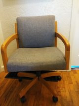 Office Chair wooden blue armed and wheels in Fort Lewis, Washington
