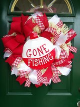 Gone Fishing Mesh Wreath in Naperville, Illinois