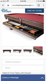Pool table with slide out storage drawer in Chicago, Illinois