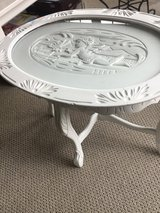 Table / white end table carved in Morris, Illinois