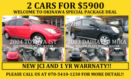 "2 CARS FOR $5900 ""WELCOME TO OKINAWA"" SPECIAL PACKAGE DEAL!! 2 YR JCI AND 1 YR WARRANTY!! in Okinawa, Japan"