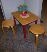 Child's Solid Wood Table with 2 Wood Stools in Kingwood, Texas