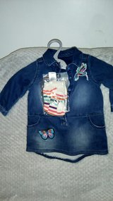 6-9 month, denim dress & tights. in Lakenheath, UK