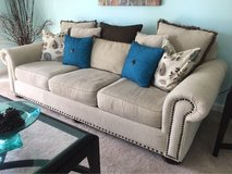 Beige Sofa with nailhead trim in St. Charles, Illinois