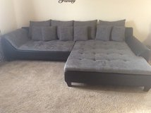 Grey and leather sectional with matching recliner in Fort Sam Houston, Texas