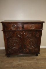 Rustic Wood Handcrafted - Carved Cabinet in Tomball, Texas