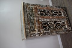 Reclaimed Wood Storage Cabinet - French Iron Carving Winter White in Spring, Texas